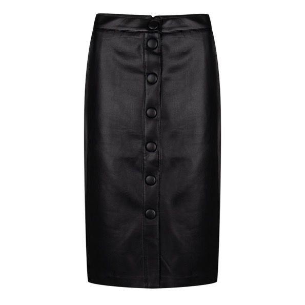 Esqualo Rok Buttoned Front PU Black